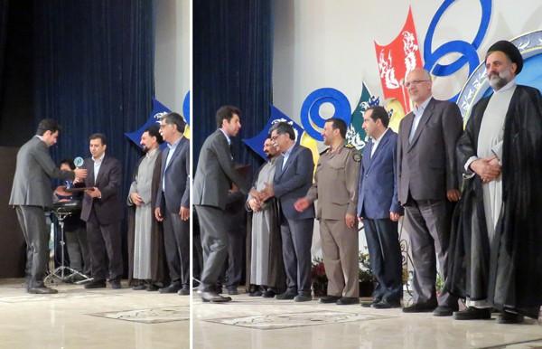 دریافت جایزه جشنواره از رئیس هیئت داوران استاد فرقانی